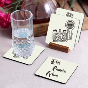 Crazy Sutra Premium HD Printed Standard Size Coasters for Tea Coffee Cups, Mugs, Beer Mugs, Cans Bar Glass, Home, Kitchen, Office, Desk Set of 4 Coasters (Cos-RollCameraAction)