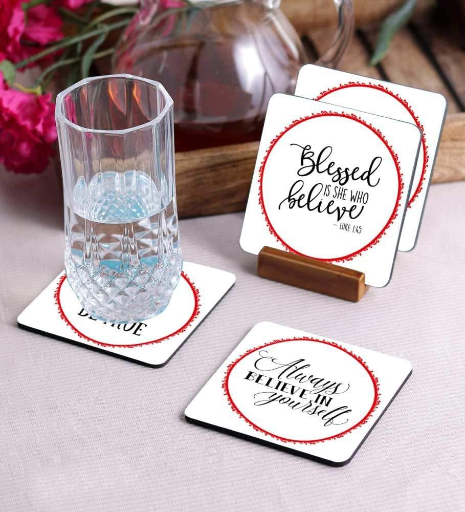 Crazy Sutra Premium HD Printed Standard Size Coasters for Tea Coffee Cups, Mugs, Beer Mugs, Cans Bar Glass, Home, Kitchen, Office, Desk Set of 4 Coasters (Cos-AlwaysBelieve)
