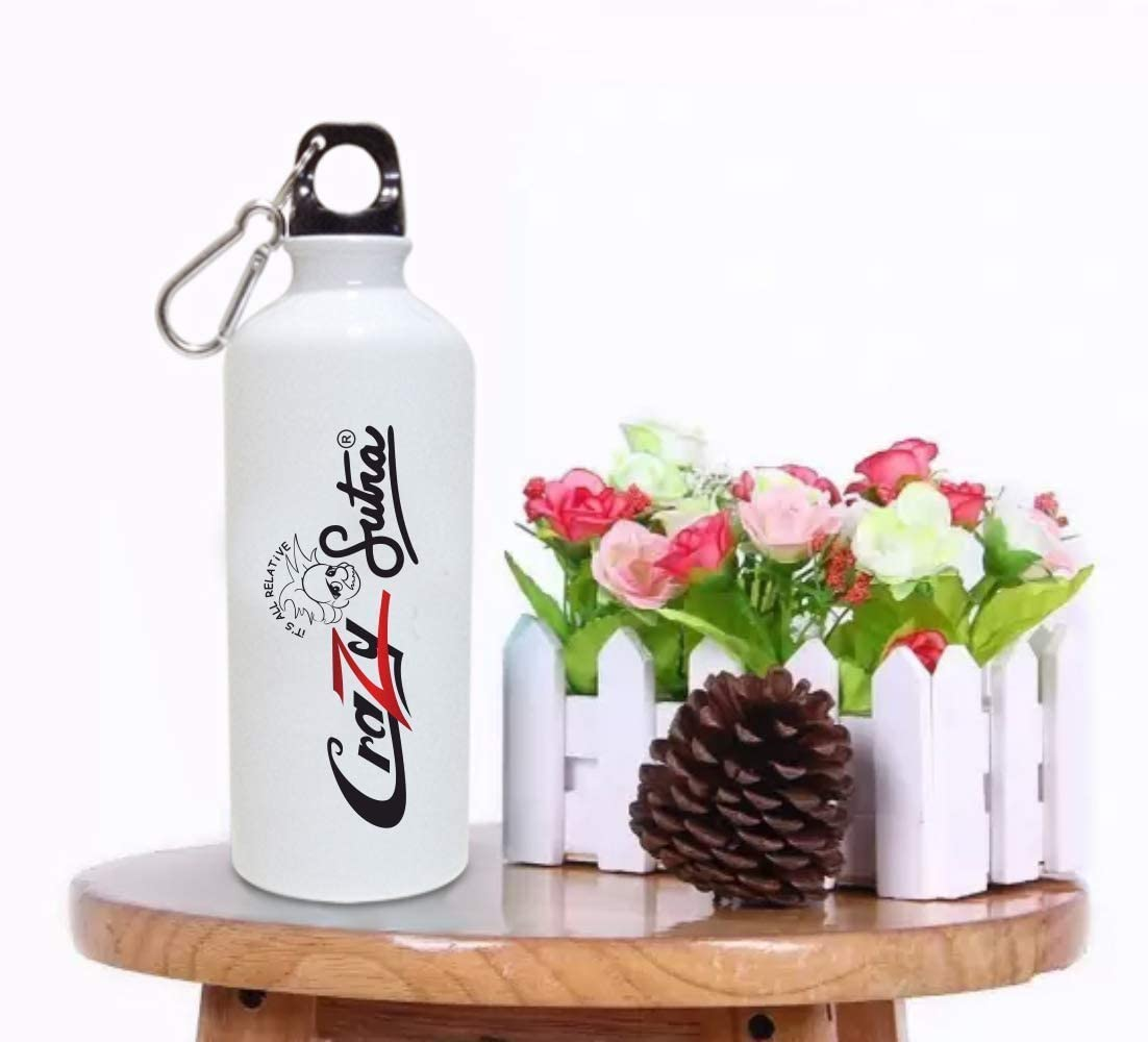 Crazy Sutra Classic Printed Water Bottle/Sipper White - 600Ml (Sipper-IShootPeople1)