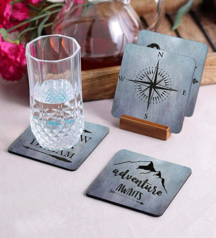 Crazy Sutra Premium HD Printed Standard Size Coasters for Tea Coffee Cups, Mugs, Beer Mugs, Cans Bar Glass, Home, Kitchen, Office, Desk Set of 4 Coasters (Cos-Adventure2)