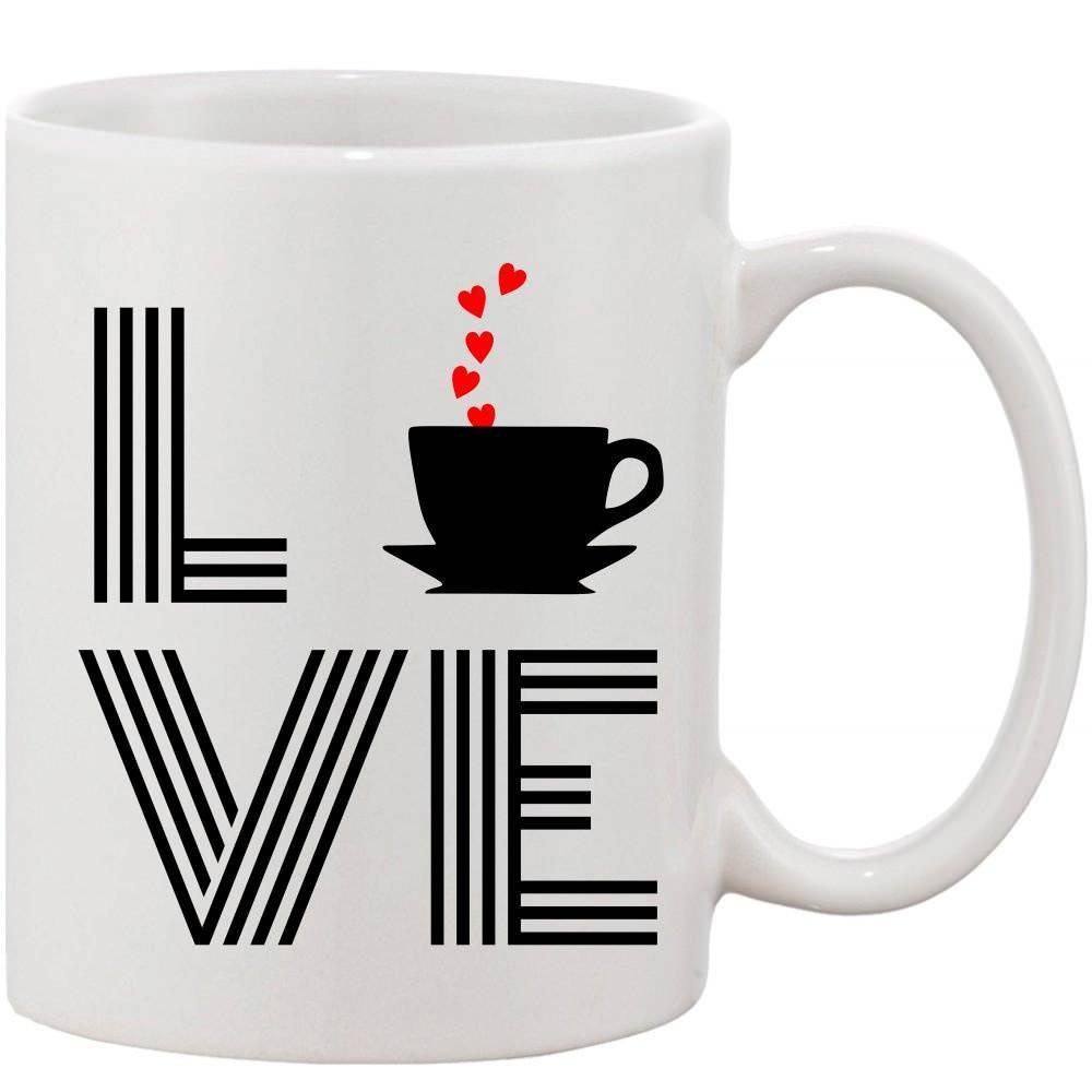 Crazy Sutra Classic Love Printed Ceramic Coffee/Milk Mug   Funky  Coffee/Milk Mug (White, 11 oz)