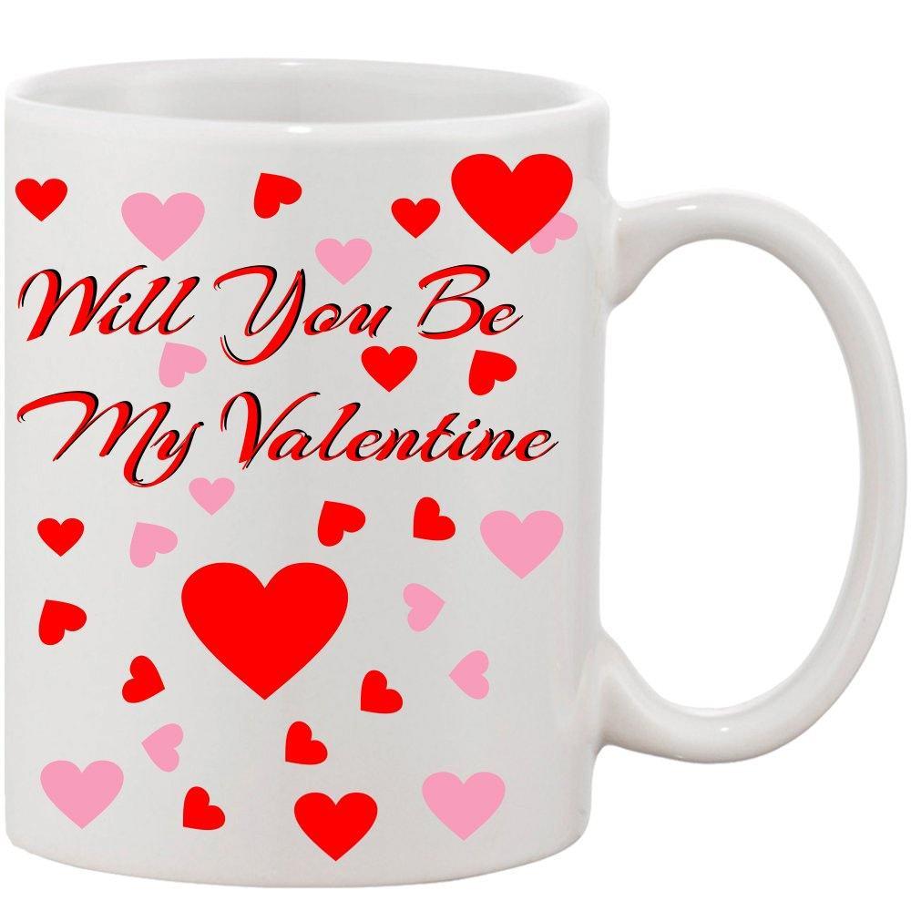 Crazy Sutra Classic Will You Be My Valentine Printed Ceramic Coffee/Milk Mug | Funky  Coffee/Milk Mug (White, 11 oz)