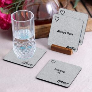 Crazy Sutra Premium HD Printed Standard Size Coasters for Tea Coffee, Cups, Mugs Beer, Cans Bar Glass, Home Kitchen, Office Desk Set of-4 (Cos-BeliveInTrust3)