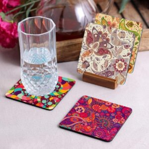 Crazy Sutra Premium HD Printed Standard Size Coasters for Tea Coffee Cups, Mugs, Beer Mugs, Cans Bar Glass, Home, Kitchen, Office, Desk Set of 4 Coasters (Cos-Pattern3-1)