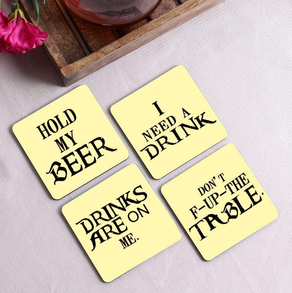 Crazy Sutra Premium HD Printed Standard Size Coasters for Tea Coffee, Cups, Mugs Beer, Cans Bar Glass, Home Kitchen, Office Desk Set of-4 (Cos-HoldMyBeer2)