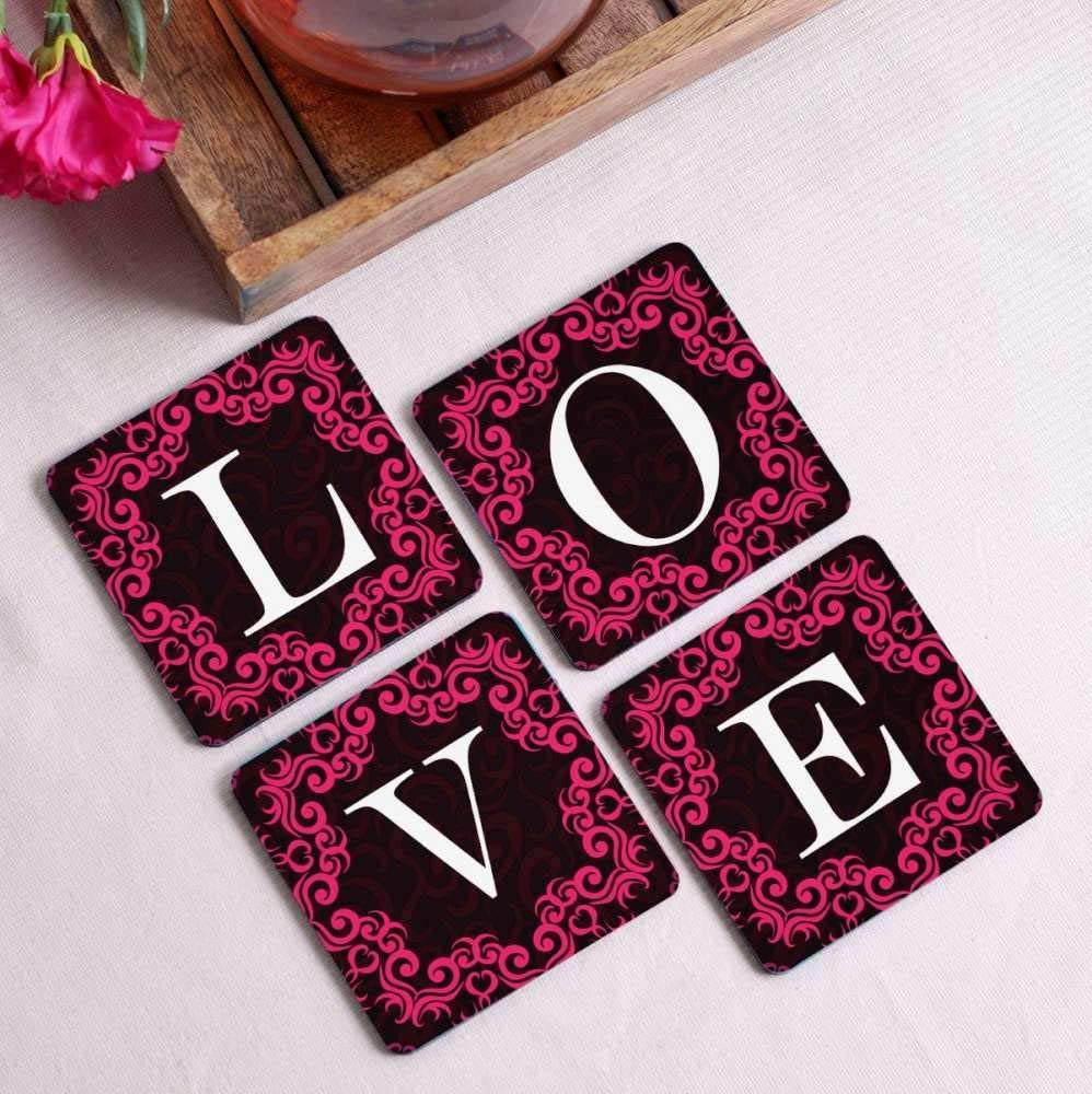 Crazy Sutra Premium HD Printed Standard Size Coasters for Tea Coffee Cups, Mugs, Beer Mugs, Cans Bar Glass, Home, Kitchen, Office, Desk Set of 4 Coasters (Cos-Love1)