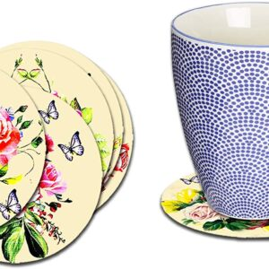 Crazy Sutra Premium HD Printed Standard Size Coasters for Tea Coffee, Cups, Mugs Beer, Cans Bar Glass, Home Kitchen, Office Desk Set of-6 (Cos-Flower)