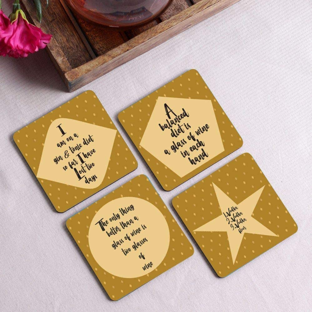 Crazy Sutra Premium HD Printed Standard Size Coasters for Tea Coffee Cups, Mugs, Beer Mugs, Cans Bar Glass, Home, Kitchen, Office, Desk Set of 4 Coasters (Cos-IAmOn3)