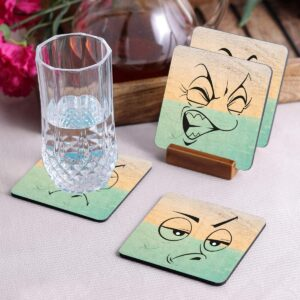 Crazy Sutra Premium HD Printed Standard Size Coasters for Tea Coffee, Cups, Mugs Beer, Cans Bar Glass, Home Kitchen, Office Desk Set of-4 (Cos-FaceExpression-3)