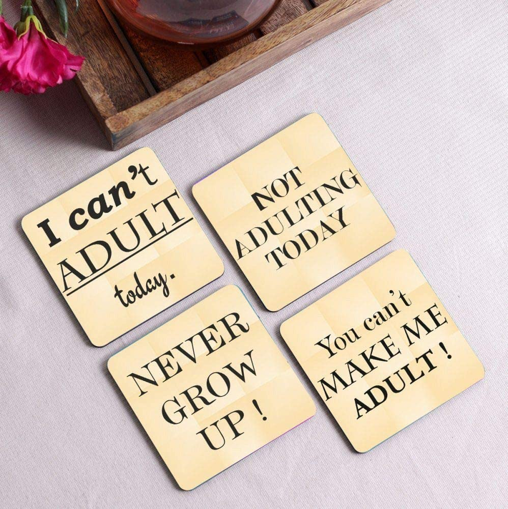 Crazy Sutra Premium HD Printed Standard Size Coasters for Tea Coffee Cups, Mugs, Beer Mugs, Cans Bar Glass, Home, Kitchen, Office, Desk Set of 4 Coasters (Cos-Ican'tToday4)
