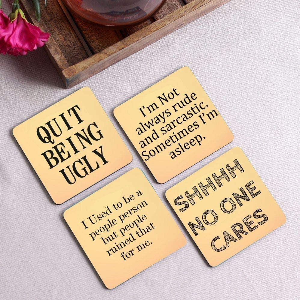 Crazy Sutra Premium HD Printed Standard Size Coasters for Tea Coffee, Cups, Mugs Beer, Cans Bar Glass, Home Kitchen, Office Desk Set of-4 (Cos-QuitBeing2)