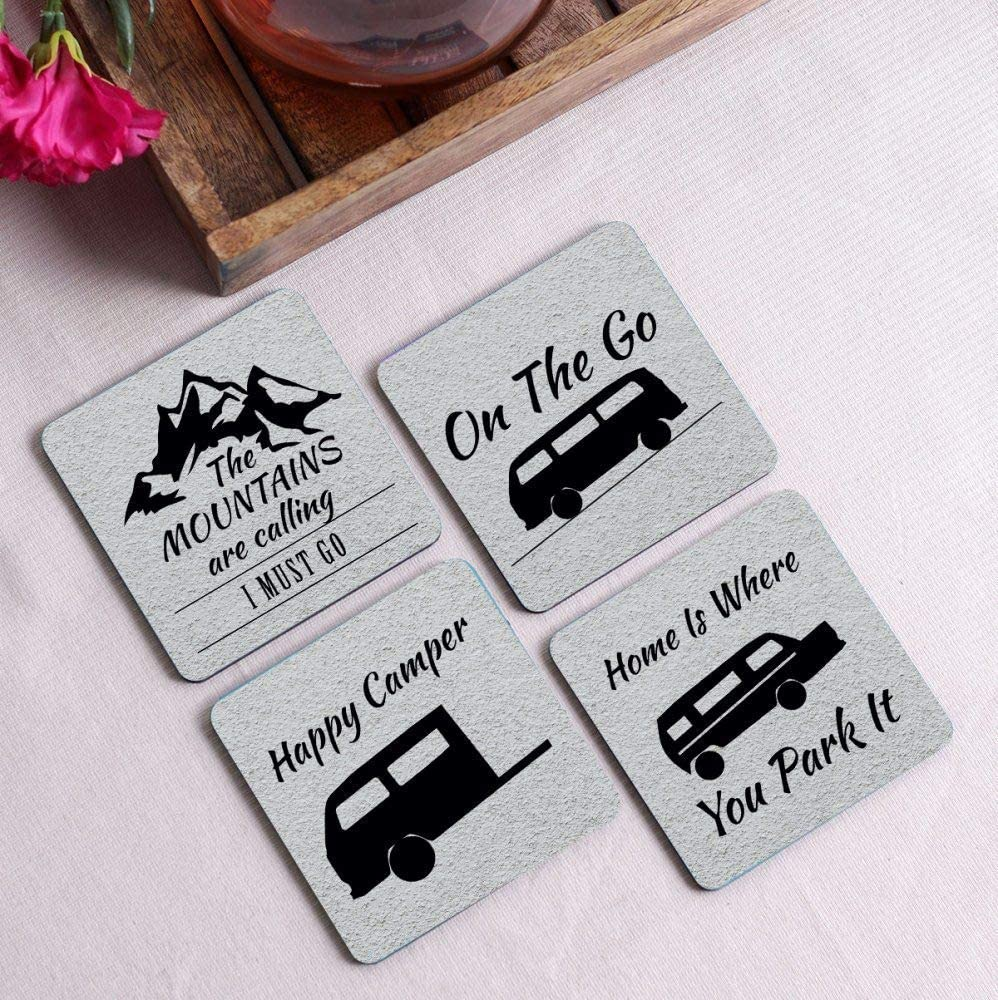 Crazy Sutra Premium HD Printed Standard Size Coasters for Tea Coffee, Cups, Mugs Beer, Cans Bar Glass, Home Kitchen, Office Desk Set of-4 (Cos-TheMountainAreCalling)