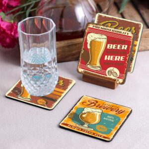 Crazy Sutra Premium HD Printed Standard Size Coasters for Tea Coffee, Cups, Mugs Beer, Cans Bar Glass, Home Kitchen, Office Desk Set of-4 (Cos-Brewery)