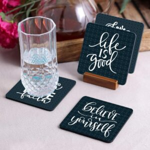 Crazy Sutra Cos-BeLiveInYourSelf-1 Wood Coasters, Set of 4, Multicolour