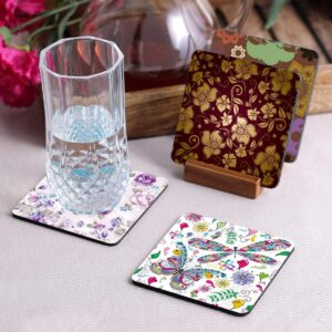 Crazy Sutra Premium HD Printed Standard Size Coasters for Tea Coffee, Cups, Mugs Beer, Cans Bar Glass, Home Kitchen, Office Desk Set of-4 (Cos-Pattern11-4)