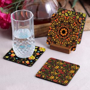 Crazy Sutra Premium HD Printed Standard Size Coasters for Tea Coffee, Cups, Mugs Beer, Cans Bar Glass, Home Kitchen, Office Desk Set of-4 (Cos-Pattern15-3)