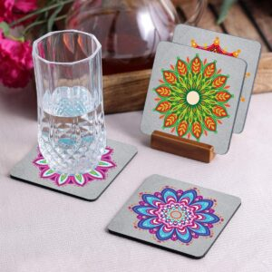 Crazy Sutra Premium HD Printed Standard Size Coasters for Tea Coffee, Cups, Mugs Beer, Cans Bar Glass, Home Kitchen, Office Desk Set of-4 (Pattern12-3)