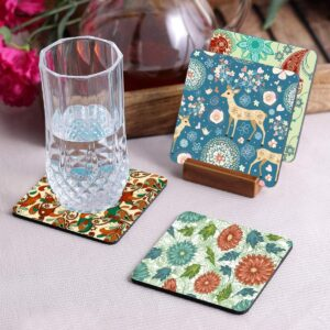 Crazy Sutra Premium HD Printed Standard Size Coasters for Tea Coffee, Cups, Mugs Beer, Cans Bar Glass, Home Kitchen, Office Desk Set of-4 (Cos-Pattern14-1)