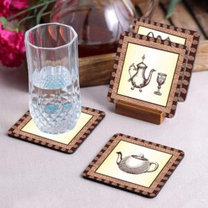 Crazy Sutra Premium HD Printed Standard Size Coasters for Tea Coffee, Cups, Mugs Beer, Cans Bar Glass, Home Kitchen, Office Desk Set of-6 (Cos-Coffee)