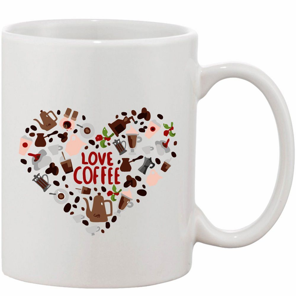 Crazy Sutra Classic Love Coffee Printed Ceramic Coffee/Milk Mug   Funky  Coffee/Milk Mug (White, 11 oz)