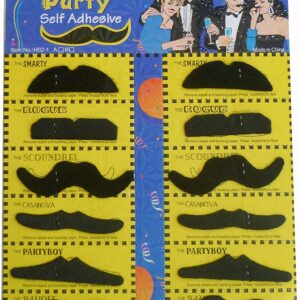 Crazy Sutra Stickon Moustache (Set of 12 )-Black